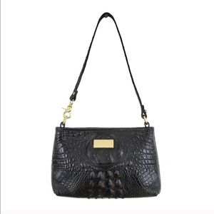 Brahmin Black Mini Croc Embossed Shoulder Bag